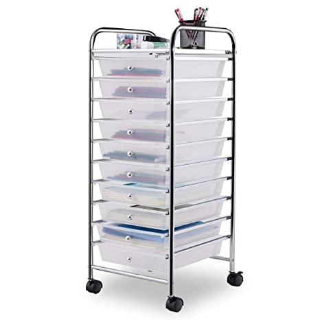Giantex 10 Drawer Rolling Storage Cart Scrapbook Paper Office School  Organizer Clear (Clear)