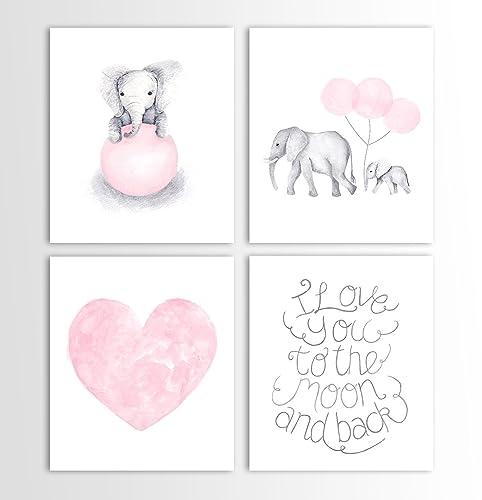 Amazon.com: Baby Girl Art, Girls Nursery Art, Elephant Wall Art, Art ...