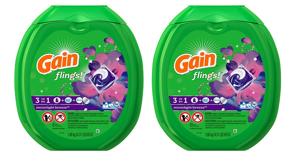 Gain IwcEZ Flings Laundry Detergent Packs, Moonlight Breeze, 81 Count (2 Pack)