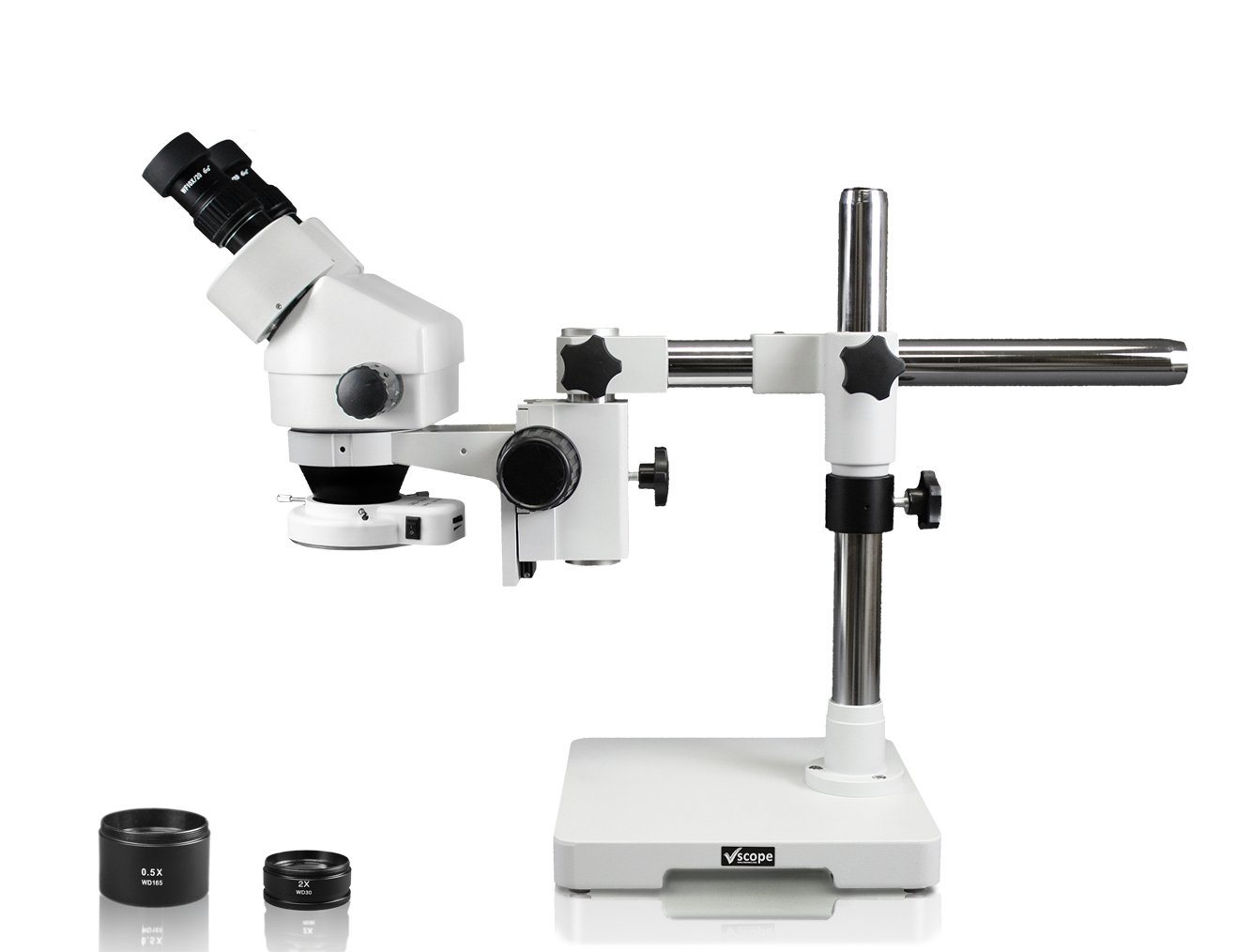Vision Scientific VS-3EZ-IFR07 Binocular Zoom Stereo Microscope, 10x WF Eyepiece, 0.7X-4.5X Zoom, 3.5X-90x Magnification, 0.5X & 2X Auxiliary Lens, Single Arm Boom Stand, 144-LED Ring Light by Vision Scientific