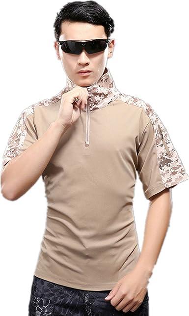 Camisa de Combate para Hombres Caza táctica Militar Polo de Manga Corta Held Airsoft Camuflaje Camiseta Uniforme táctico Ropa Deportes al Aire Libre para Multicam Desierto Camo Small: Amazon.es: Ropa y accesorios