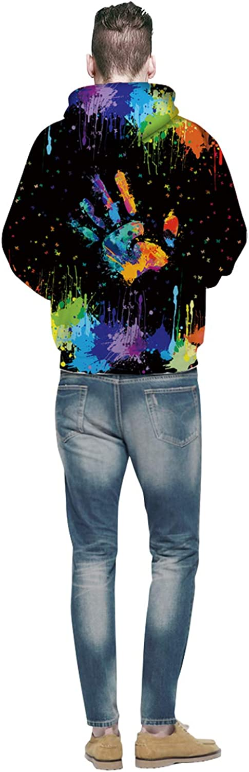 S//M, W6151 Unisex Fashion 3D Digital Galaxy Pullover Hooded Hoodie Sweatshirt Athletic Casual with Pockets