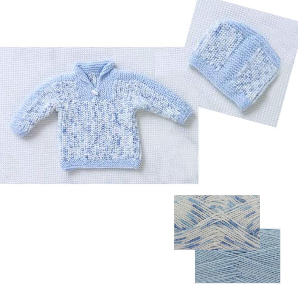 Strick-Pullover und Mütze, Doppelstrick, 5331 Blue Wool/Pattern Pack (3-9 Months) The Wool Pack