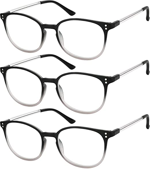 f7ee296f6edb Reading Glasses 3 Pair Stylish Color Readers Fashion Glasses for Reading  Men   Women +1