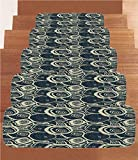 iPrint Non-Slip Carpets Stair Treads,Grunge,Wood Pattern Nature Inspirations Circles of a Tree Abstract Style Decorative,Dark Blue Pale Reseda Green,(Set of 5) 8.6''x27.5''