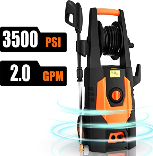 CHAKOR 3500PSI Electric Pressure Washer 2.0GPM 1800W High Power Washer Machine Best for Cleaning Car Floor Wall Furniture Outdoor with 4 Adjustable Nozzle, Spray Gun, Hose Reel, Brush-Orange