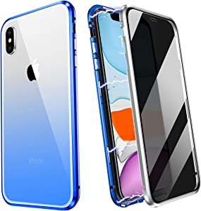 ZHIKE iPhone 7 Plus Case, iPhone 8 Plus Case, Anti Peeping Magnetic Double Side Privacy Tempered Glass Full Screen Coverage Anti-Slip Design Gradient Color Cover (Anti-Spy, Blue-Silver)