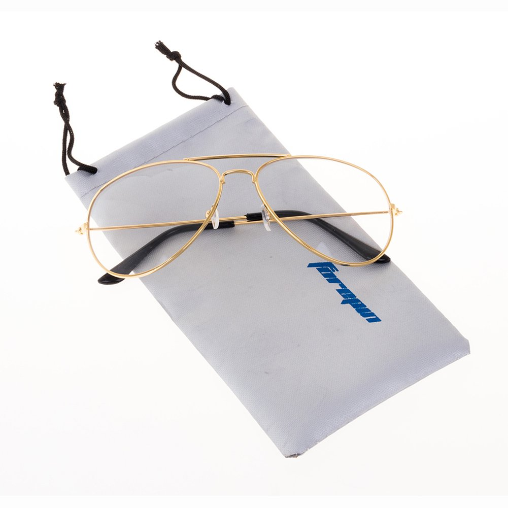 Forepin® Montura Gafas de Aviador (Oro) para Unisex Hombre y Mujer con Montura de Metal-acero Fino R...