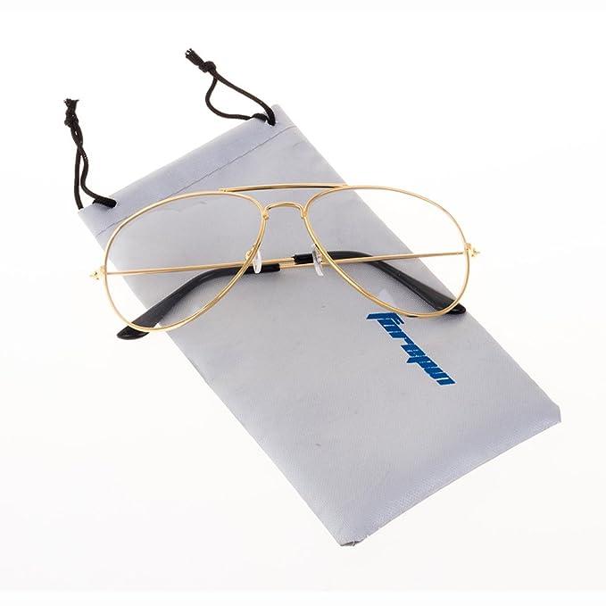 21d716c2aea forepin Lunettes de Vue Unisex Monture Metalique Cadre Frame Lentille pour  Homme et Femme Adultes Vintage Verre Transparent Style Aviateur Pilote  ...