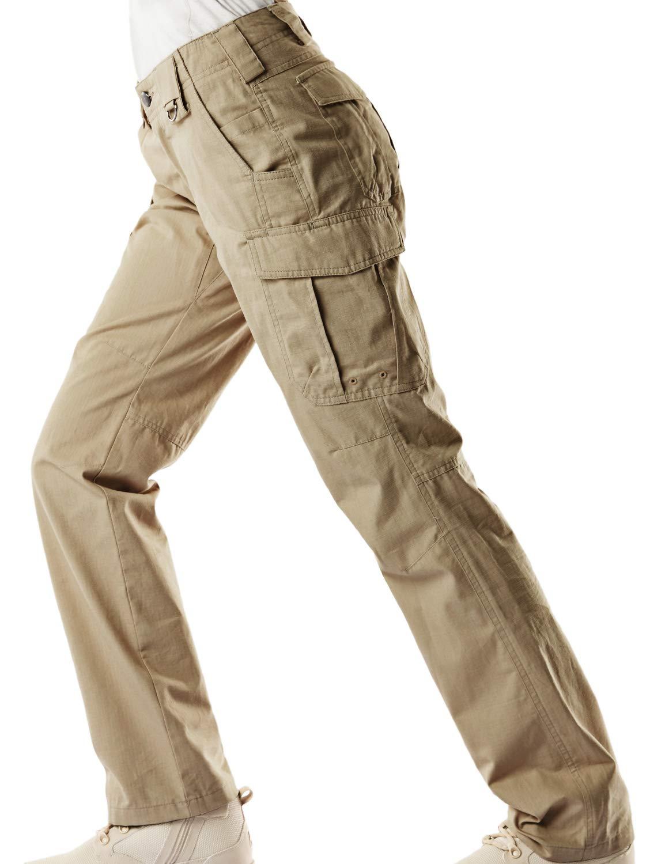 CQR CQ-WFP510-KHK_14/Long Women's Flex Stretch Tactical Long Pants Lightweight EDC Assault Cargo wiith Multi Pockets WFP510 by CQR (Image #7)