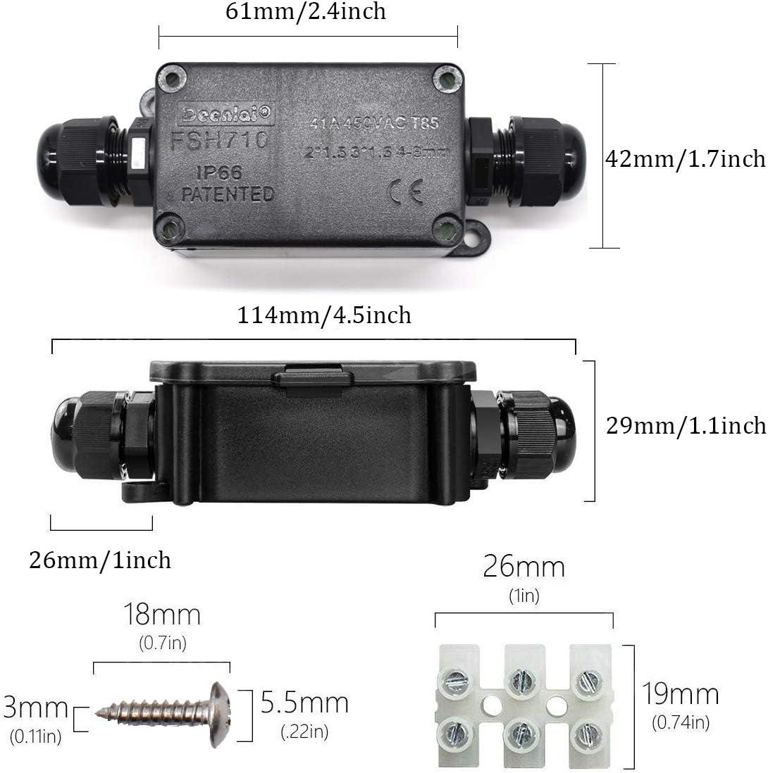 lot de 2 Liwein IP66 /étanche Bo/îte de Jonction Ext/érieur Imperm/éable Connecteur de C/âble Plastique Bo/îtier de Raccordement /Électrique PG9 2 Voies 3 Voies Connecteurs Bo/îte pour C/âble 4 /à 8mm