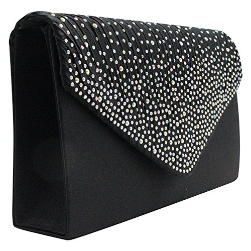 Wiwsi Satin Various Apple Bag Color Pleated Diamante Green Clutch Lady Purse Party Handbag ZBZSTq1rW