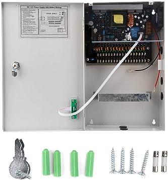 Fuente de alimentación de control de acceso de UPS Caja de fuente de alimentación de acceso de puerta de 12V-30A-18CH con batería de respaldo para lámparas LED: Amazon.es: Bricolaje y herramientas