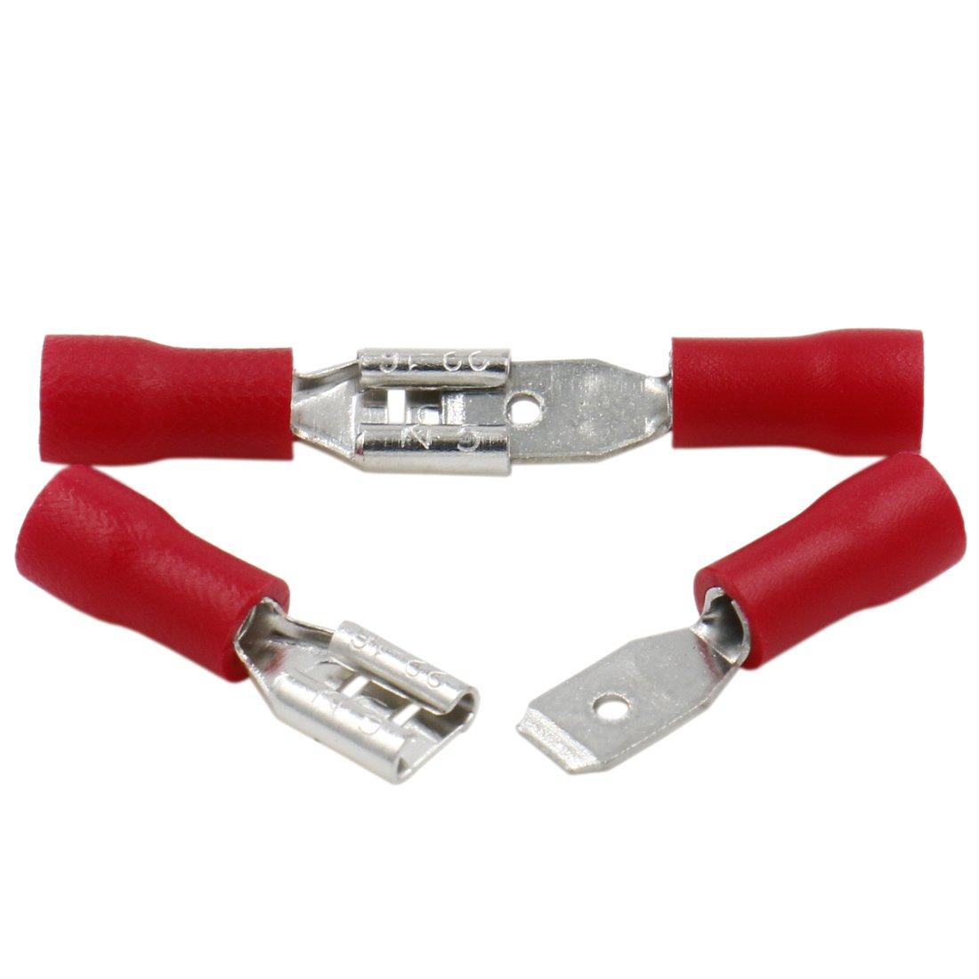 heschen in Frauen-Schnell Trennt, Vinyl Isolierter 4,8x 0,5mm Kabel Terminal für 0,5–1,5mm² (22–16AWG) rot 100Stück Heschen Electric Co.Ltd
