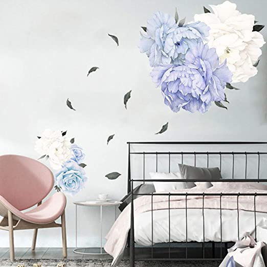 PandaLily Wall Stickers /& Murals Home D/écor 2Pcs Flower Peony Removable Wall Sticker Stairs Decal Living Room Bedroom Decor