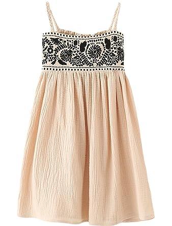 d5b13391f156 Amazon.com  Mallimoda Girls Cotton Linen Sling Princess Dress Beach   Clothing