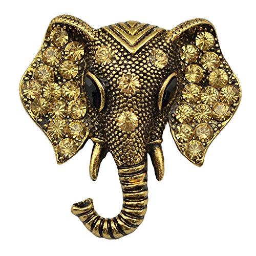 Idealway Silver Gold Alloy Crystal Rhinestone Elephant Brooch Pins Women Jewelry (April Birthstone Angel Pin)