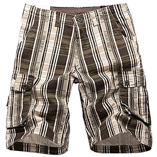 - i-Summer Men's Plaid Patchwork Cotton Shorts Pants Coffee 38