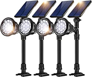 JSOT 18 LED Solar Spot Lights,2-in-1 Wireless Solar Spotlight Waterproof In-Ground Lights with Auto On/Off Sensor Garden Landscape Light Fixture Outdoor Security Night Lighting,Cool White,4 Pack