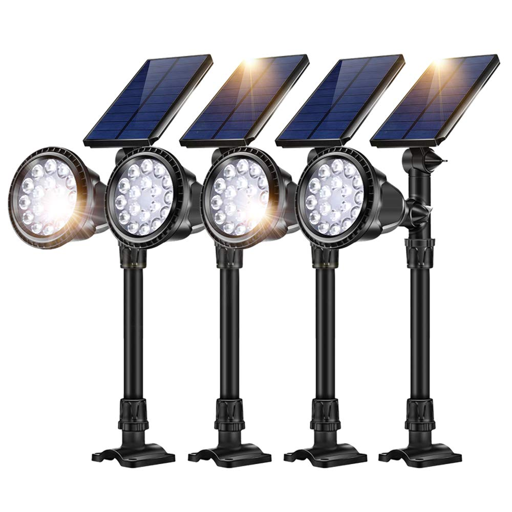 JSOT 18 LED Solar Spot Lights,2-in-1 Wireless Solar Spotlight Waterproof In-Ground Lights with Auto On/Off Sensor Garden Landscape Light Fixture Outdoor Security Night Lighting,Cool White,4 Pack by JSOT