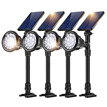 Solar Spotlight,7 LED Changing Color Solar Lights Waterproof Outdoor Lights for The Yard Patio Garden Lawn,180/°Angle Adjustable,Auto-on//Off Ultra Bright Security Lights for Driveway 1PCS