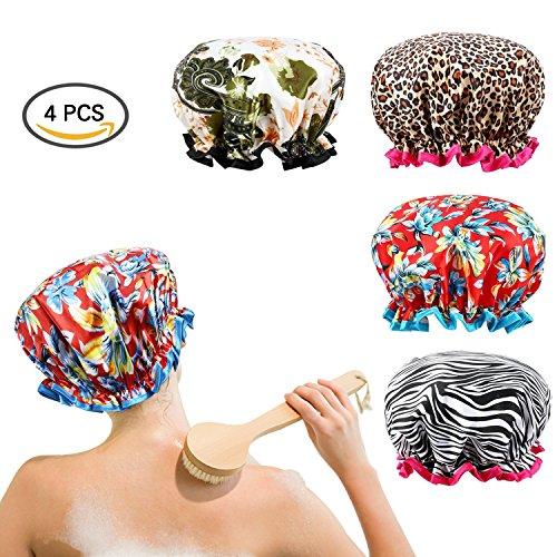 Sexybeauty Shower Cap Elastic Waterproof Beauty Cap Home-Use Salon Hair Cap 4 Pcs/4 Patten Women Bath Cap