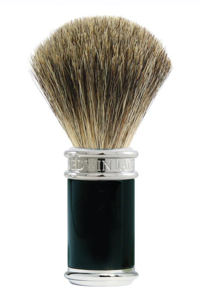 Edwin Jagger Pure Badger Shaving Brush, Black and Chrome