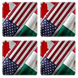 MSD Square Coasters Non-Slip Natural Rubber Desk Coasters design 32559273 Close up of the flags of the North American Free Trade Agreement NAFTA members on textile texture NAFTA is