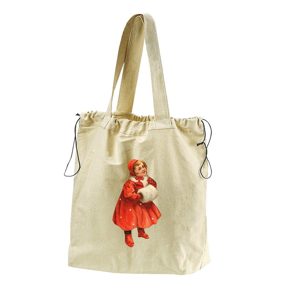 Girl In Red Coat Vintage Look #2 Canvas Drawstring Beach Tote Bag