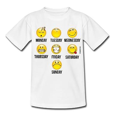 6afe2f7254af4 Spreadshirt Smiley World Jours De La Semaine T-Shirt Ado  Amazon.fr ...