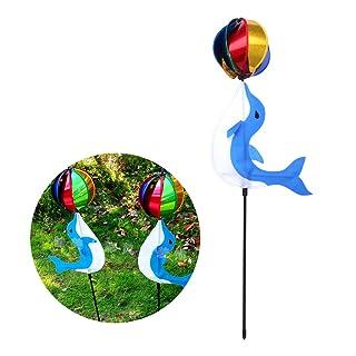 Manyo 1Set colorato mulino a vento di carino cartone animato animale giocattolo per bambini, decorazione da giardino, a forma di delfino, 91x 18cm.