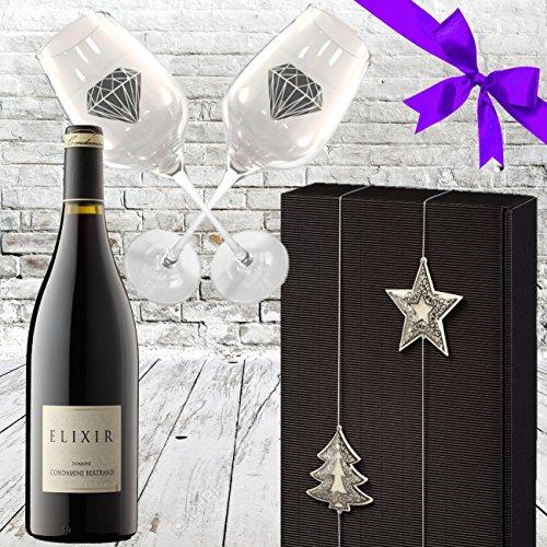 Premium Luxusgeschenk Weinpräsentbox Elixir Rouge Rotwein Frankreich mit 2 Original geschrägten Rotweinkelchen in der exklusiven Geschenkverpackung Schwarz Silber Weihnachtsgeschenk edel Luxus für Männer und Frauen