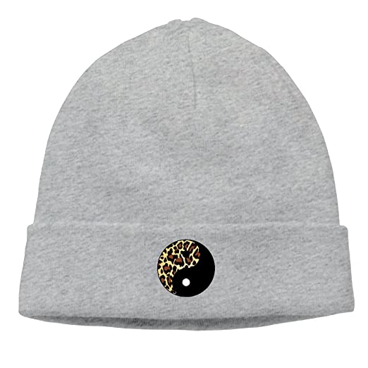2a0af52d9d4 Sincerity-First Mens Womens Leopard Yin Yang Outdoor Daily Beanie Hat Skull Cap  Ash