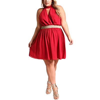 Deb Shops Debshops Womens Plus Size Surplice Chiffon Flared ...