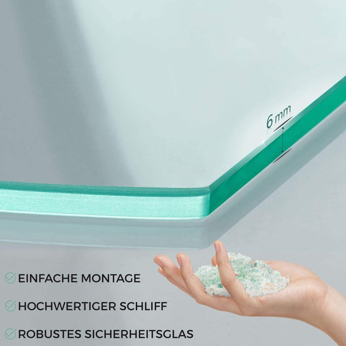 Glasregal Wandregal Glasablage Glasregalboden Badablage Glas Regal aus 6 mm Sicherheitsglas 60 x 10,16 x 0,6 cm