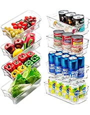 JINAMART (Set of 8) Stackable Storage Organizer Bins for Refrigerator with Handle| BPA Free Clear Plastic Fridge Container Box for Pantry, Vegetables and Cans Freezer Organizer Bins (8 PCS)
