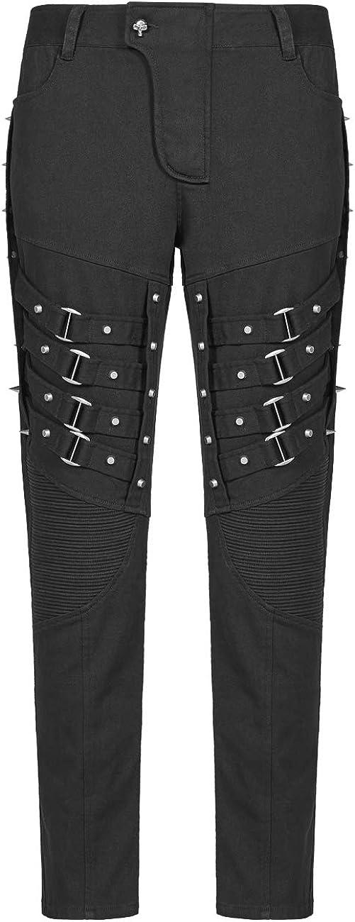 Asequible Oficial Punk Rave Pantalones De Hombre Goticos De Cintura Alta De Metal Negro Casual Pantalones