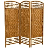 ORIENTAL FURNITURE 4 ft. Tall Fiber Weave Room Divider - Light Beige - 3 Panels