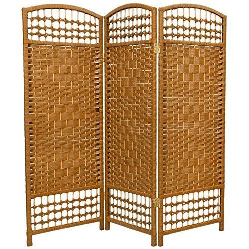 Oriental Furniture 4 ft. Tall Fiber Weave Room Divider - Light Beige - 3 Panels (Room Screens Divider Wicker)