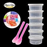 15pcs Slime de conservation réutilisables LeakProof Plastique Transparent conteneurs de perles en mousse avec couvercles Cuillères