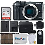 Canon EOS M6 Mirrorless Digital Camera (Body Only, Black) + 32GB Memory Card + Camera Bag + RC-6 Wireless Remote + 12 Piece Memory Card Holder + USB Card Reader + Screen Protectors + Cleaning Cloth