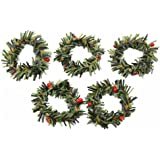 Taloyer 10Pcs Mini Artificial Berry Branches Flowers Wreath Christmas Garland Pendant Decoration Wedding Party DIY Scrapbooking Crafts