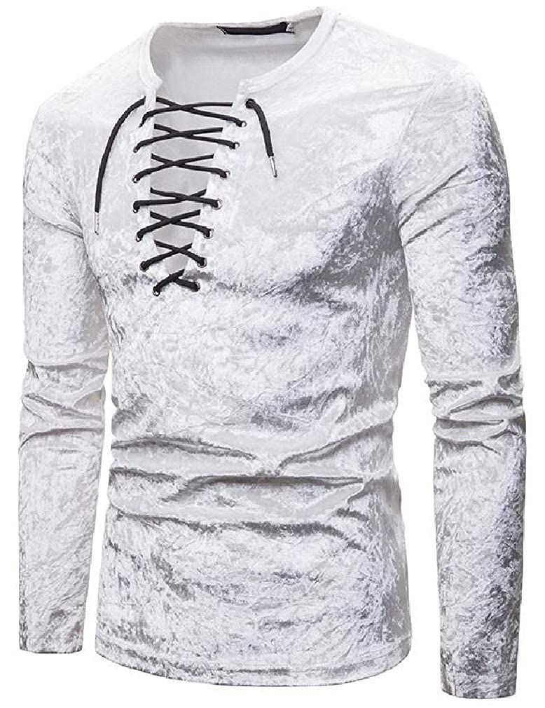 Joe Wenko Men Lace Up Velvet Long Sleeve Tops Tees Casual Autumn T-Shirts