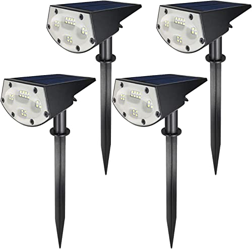 Solar Plus LE-05A 20 LED Landscape Spotlights IP67 Waterproof Powered Wall 2-in-1 Wireless, Outdoor Solar Light for Yard Garden Driveway Porch Walkway Pool Patio 4-Pack