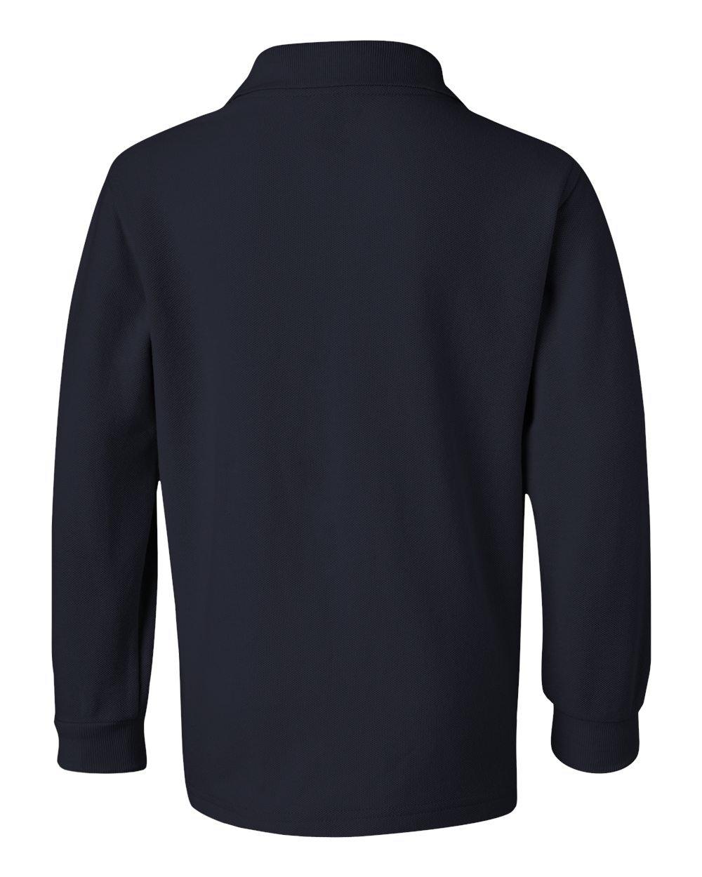 French Toast School Uniform Boys Long Sleeve Pique Polo Shirt, Navy, Medium (8)