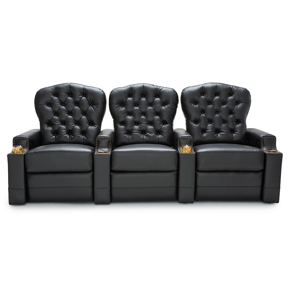 Seatcraft Imperial Leather Home Theater Seating Power Recline - (Row of 3, Black)