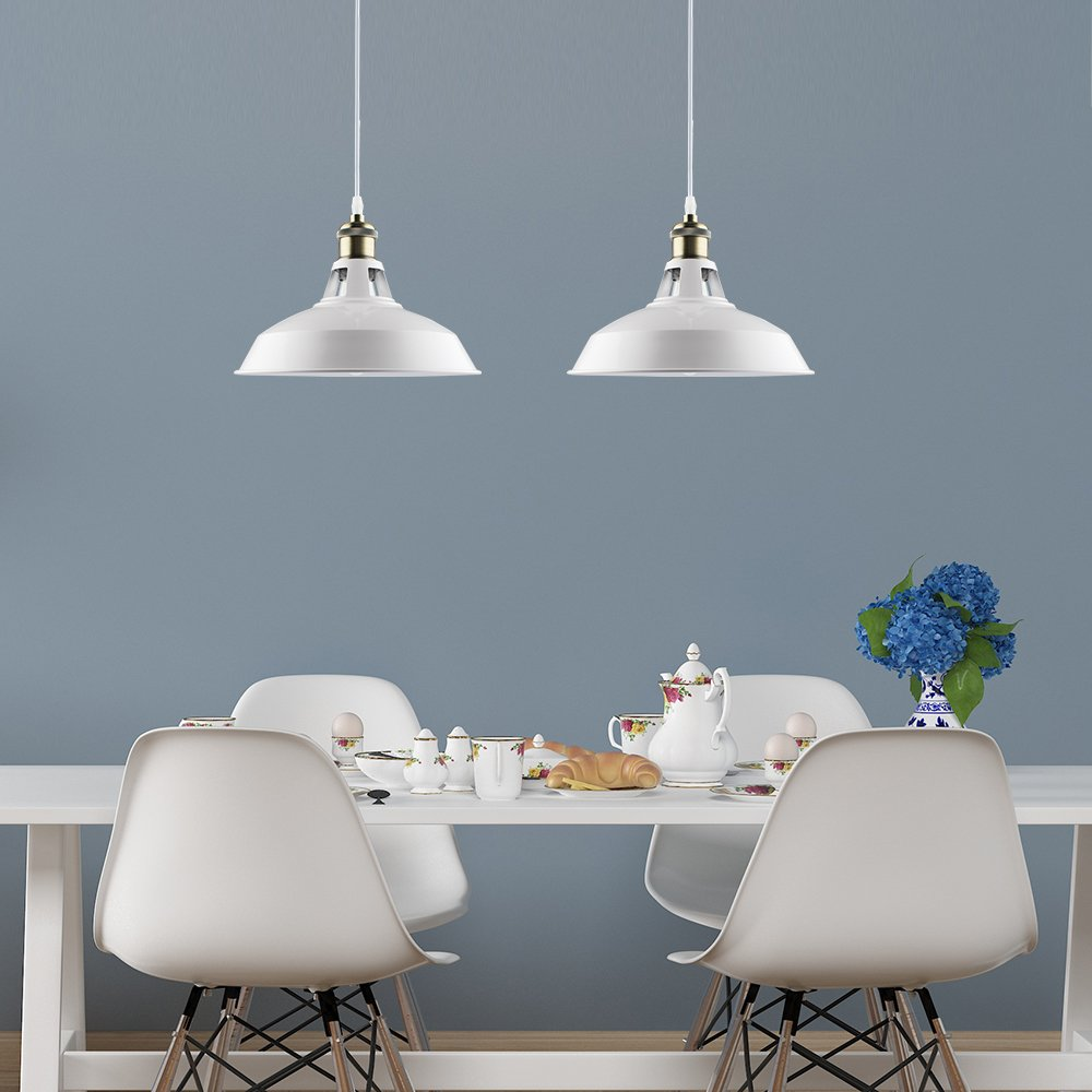 B2ocled Retro Kitchen Pendant Lighting Over Island Metal White Paint ...