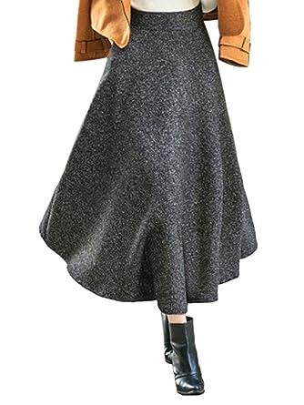 CR Women's Black High Waist Pocket Detail Woolen Winter Midi Skirt ,Black02,Small