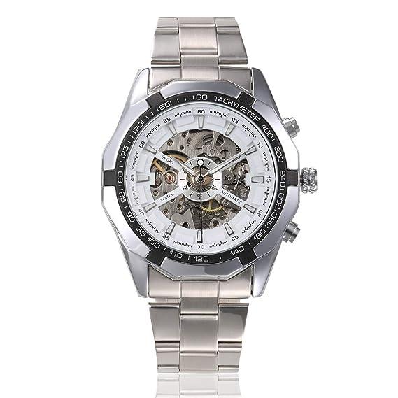 HWCOO Relojes Winner 340 Reloj mecánico automático Hueco Luminoso para Hombres (Color : 1): Amazon.es: Relojes