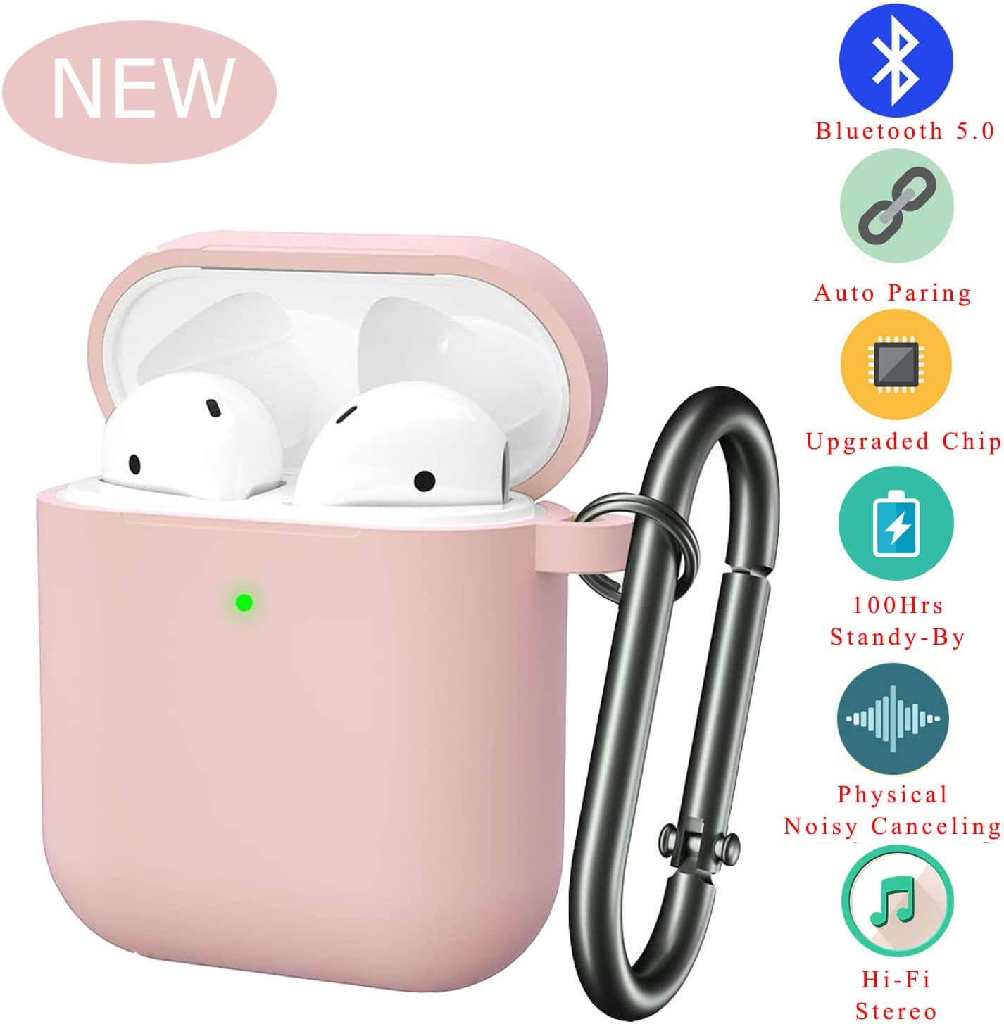Bluetooth Wireless Noise Cancelling Headset | in-Ear Waterproof Headphones | with Portable Travel Silicone Charging case Hi-Fi Stereo Microphone Wireless Earbuds for iPhone/Android (Pink)